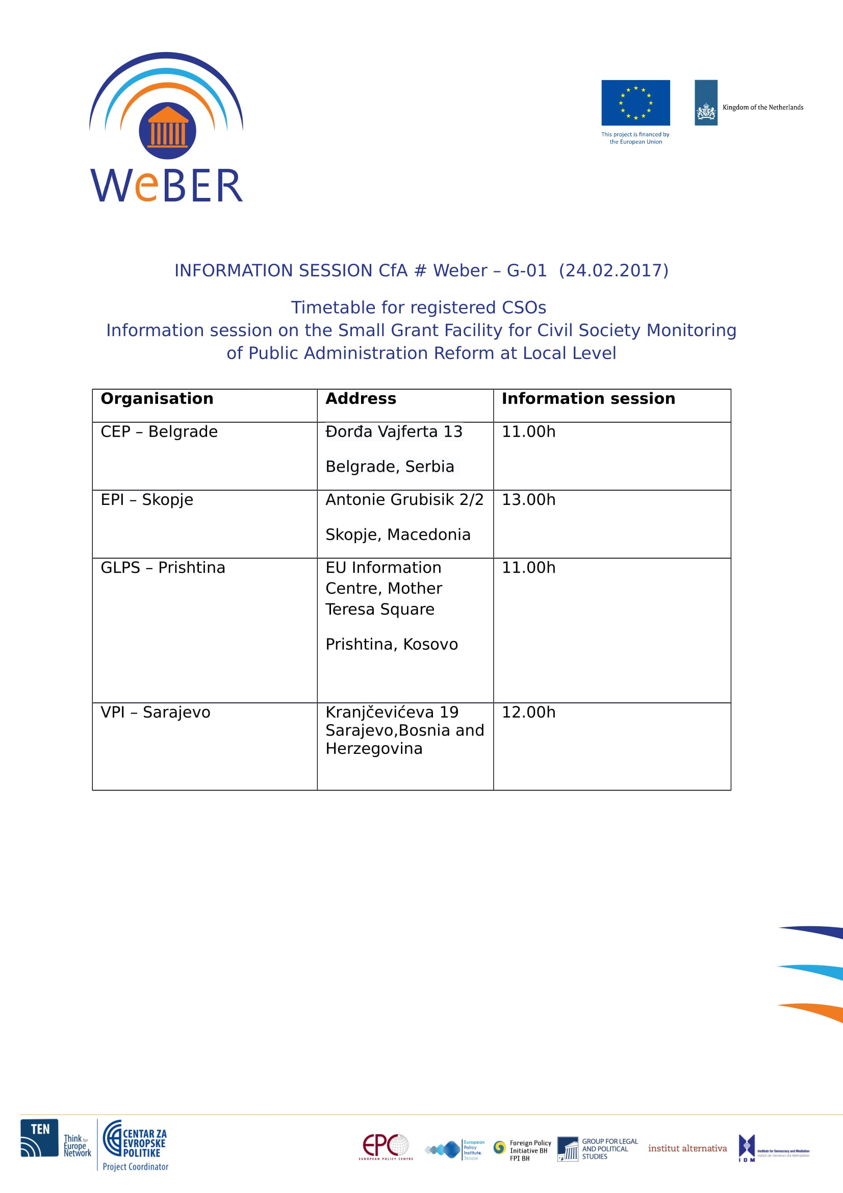 Timetable info session 1